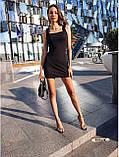 Женское платье в рубчик с рюшами на бретелях футляр, фото 4