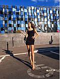 Женское платье в рубчик с рюшами на бретелях футляр, фото 7