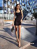 Женское платье в рубчик с рюшами на бретелях футляр, фото 8