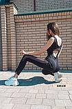 Женский фитнес комбинезон со вставками сетки, фото 2