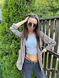 Женский пиджак в коричневую клетку мелкой гусиной лапки с карманами оверсайз, фото 5