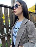 Женский пиджак в коричневую клетку мелкой гусиной лапки с карманами оверсайз, фото 7