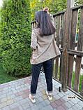 Женский пиджак в коричневую клетку мелкой гусиной лапки с карманами оверсайз, фото 10