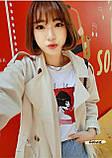 Женская стильная футболка белая с рисунком девушки что курит, фото 4