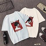 Женская стильная футболка белая с рисунком девушки что курит, фото 6