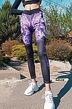 Женские фитнес лосины с фиолетовым принтом, фото 2