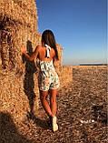 Женский Комбинезон летний в цветочный принт с воланом и открытой спиной, фото 4