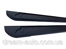 Porsche Cayenne 2003-2010 гг. Боковые пороги Allmond Black (2 шт., алюминий)
