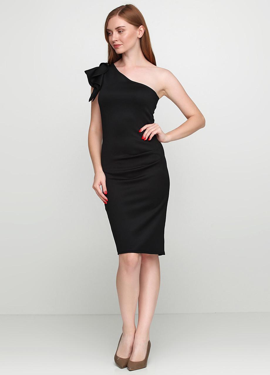 Сексуальное женское платье  на одно плечо футляр черного цвета