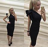 Сексуальное женское платье  на одно плечо футляр черного цвета, фото 5