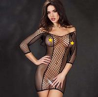 Эротическое белье. Эротическое платье сетка. Нижнее белье. Пеньюар. Боди. (46 размер размер М) черное, фото 1