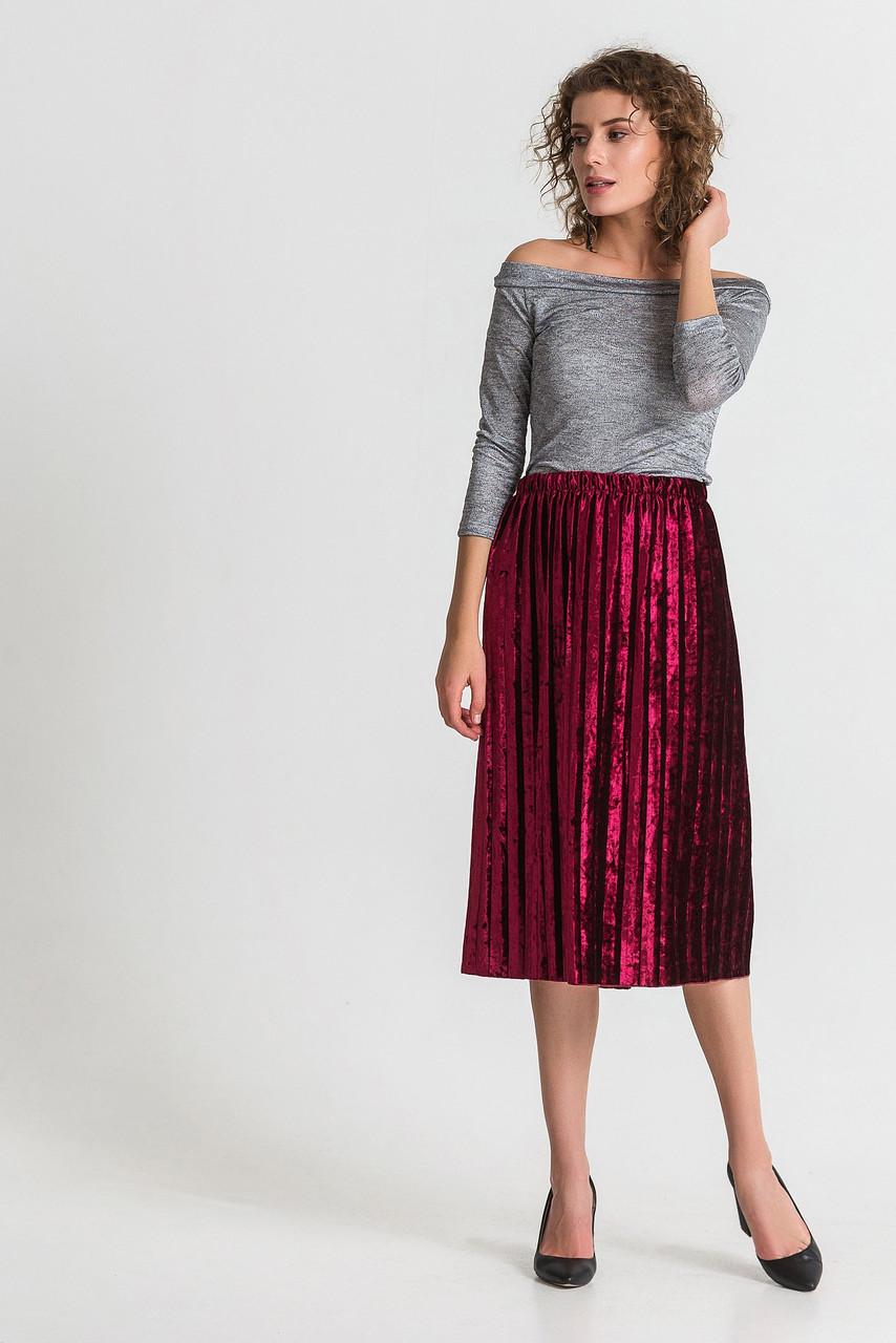 Женская бархатная юбка плиссе миди марсала