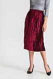 Женская бархатная юбка плиссе миди марсала, фото 2