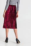 Женская бархатная юбка плиссе миди марсала, фото 4