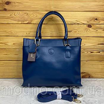 Женская кожаная вместительная сумка на плечо с длинным ремешком Voee Vodd Синий