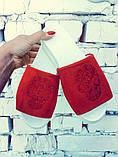 Женские шлепанцы из натуральной замши или кожи с вышивкой череп, фото 5