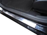 Renault Logan II 2008-2013 гг. Накладки на пороги OmsaLine (4 шт, нерж.)