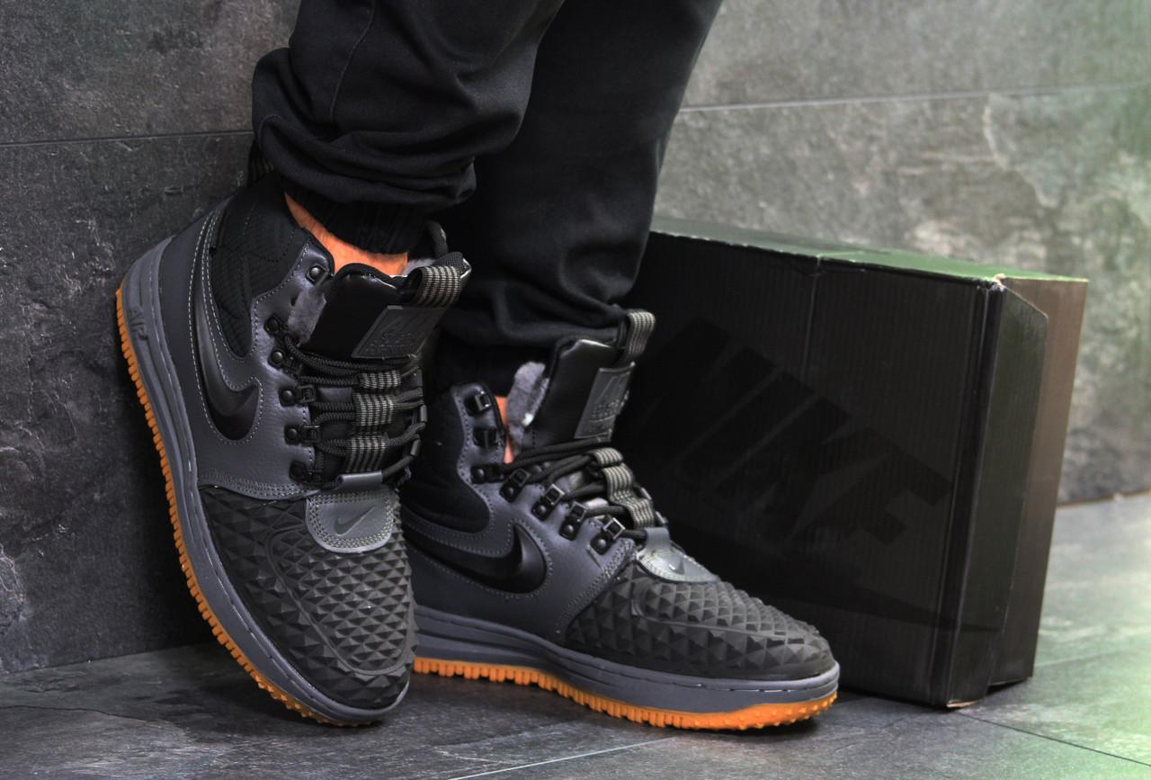 Мужские высокие кроссовки Nike Lunar Force 1 Duckboot,на меху,серые с черным