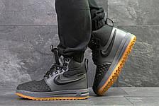 Мужские высокие кроссовки Nike Lunar Force 1 Duckboot,на меху,серые с черным, фото 3