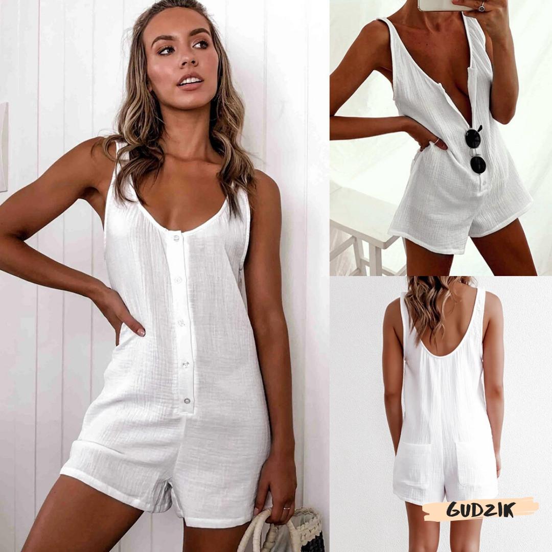 Женский пляжный ромпер комбинезон белый на пуговицах с карманами