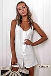 Женский пляжный ромпер комбинезон белый на пуговицах с карманами, фото 2
