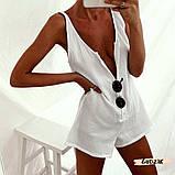 Женский пляжный ромпер комбинезон белый на пуговицах с карманами, фото 3