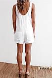 Женский пляжный ромпер комбинезон белый на пуговицах с карманами, фото 4