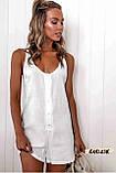 Женский пляжный ромпер комбинезон белый на пуговицах с карманами, фото 5