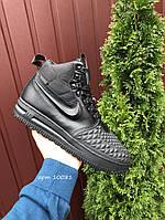 Мужские зимние кроссовки Nike Lunar Force 1 Duckboot (черные) 10081