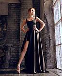 Женский атласный костюм с юбкой в пол черный, фото 3