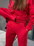 Спортивный костюм женский на флисе чёрный, серый, красный, олива, пудра 42-44,46-48, фото 5