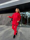 Спортивный костюм женский на флисе чёрный, серый, красный, олива, пудра 42-44,46-48, фото 9