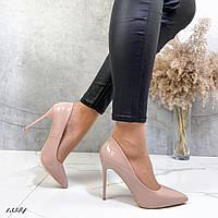 Лодочки.Туфли женские классика, бежевые. Новогодние туфли. Стильные туфли. Праздничные туфли