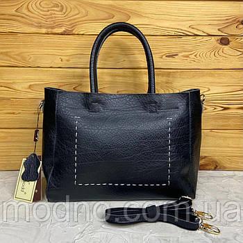 Женская кожаная вместительная сумка на плечо Voee Vodd чёрная