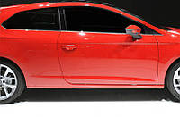 Seat Leon 2013↗ гг. Молдинг боковых стекол (3 дверный, 6 шт, нерж)