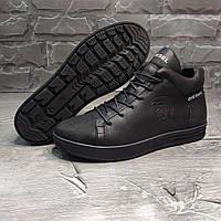 Зимние кожаные кроссовки на меху Diesel Pirate Black, фото 1