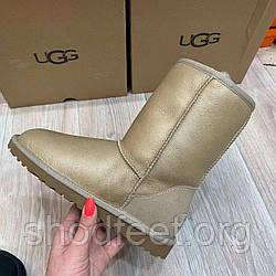 Ugg Australia Угги Оригинал! Женские кожа золото!