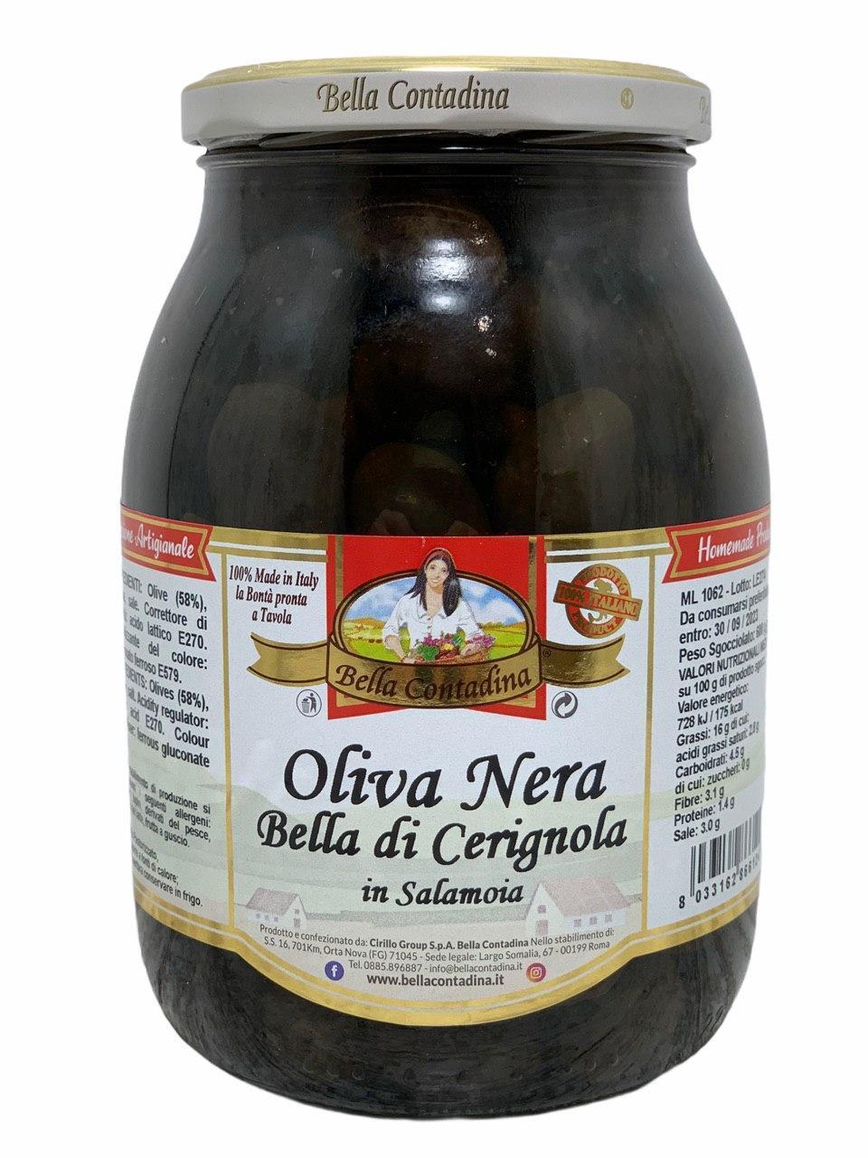 Оливки красные в рассоле Oliva Nera Bella Contadina с косточкой 1062 мл