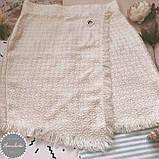 Женская твидовая юбка с бахрамой на запах, фото 2