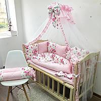 Комплект бортиков в детскую кроватку с розами, бортики-подушечки, комплект белья для новорожденного
