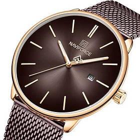 Часы Женские Naviforce NF3012L Brown-Cuprum,  ( часы Женские  классические Навифорс)  Браслет