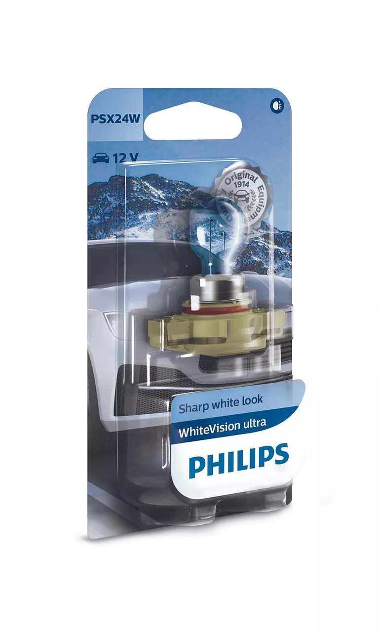 Автолампа PHILIPS 12276WVUB1 PSX24W 55W 12V WhiteVision ultra +60% (3300K) B1