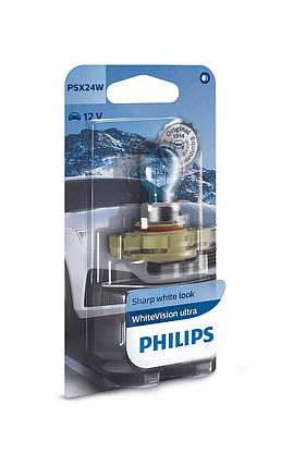 Автолампа PHILIPS 12276WVUB1 PSX24W 55W 12V WhiteVision ultra +60% (3300K) B1, фото 2