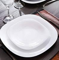 Квадратная белая тарелка из стеклокерамики Luminarc Сarine white 190 мм (L4454)
