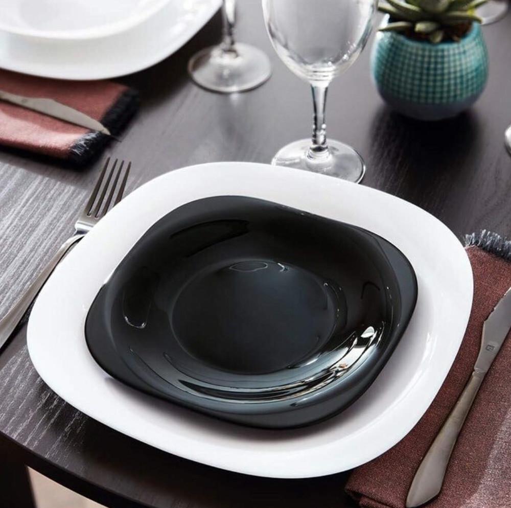 Квадратная черная тарелка для закусок Luminarc Carine Black 190 мм (L9816)