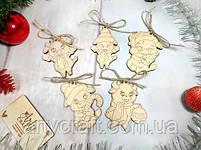 """Набор деревянных новогодних игрушек """"Год Быка"""" (№3) 5 шт 8-9 см Светлое дерево, фото 2"""