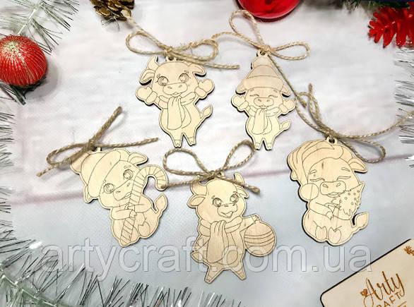 """Набор деревянных новогодних игрушек """"Год Быка"""" (№3) 5 шт 8-9 см Светлое дерево"""