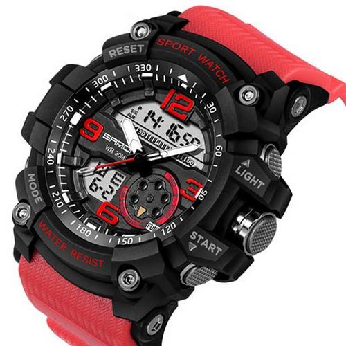Годинники Sanda 759 Red-Black (Санда) Спортивні, Жіночі-Чоловічі, Каучуковий ремінець