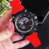 Годинники Sanda 759 Red-Black (Санда) Спортивні, Жіночі-Чоловічі, Каучуковий ремінець, фото 2