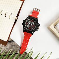 Годинники Sanda 759 Red-Black (Санда) Спортивні, Жіночі-Чоловічі, Каучуковий ремінець, фото 3